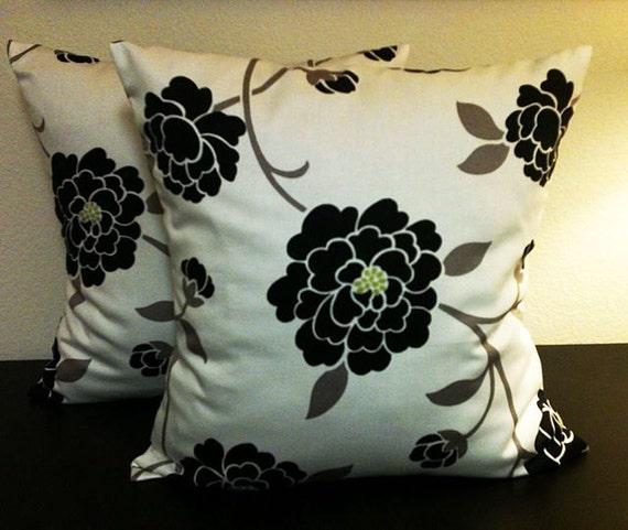 Black White Pillow Covers, Home Decor Pillows, Designer Floral Pillow, Robert Allen Sperling Noir, 2 Pillow Covers 18x18-Free Shipping