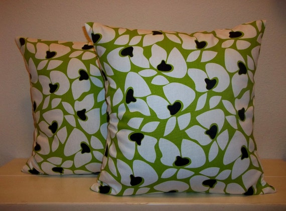 Decorative Set of 2 Pillow Covers 18x18 inch-Free Shipping - Helen Chartreuse Green and Black Home Decor Throw Cushion Pillow Cover