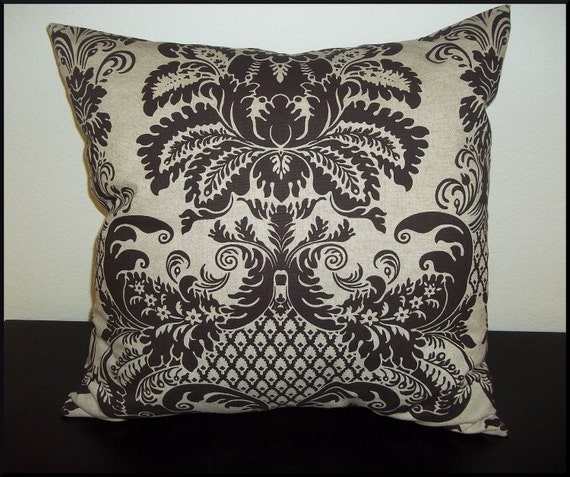 2 Pillow Covers 20 x 20 inch - Free Shipping - Decorative Home Decor Fabric Damask Brown on Tan--