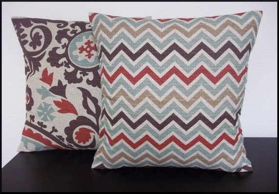 Mixed set of 2 Pillow Covers 16x16 inch-Free Shipping - Zoom Zoom Nile Denton Chevron Zig Zag and Suzani Home Decor Fabric