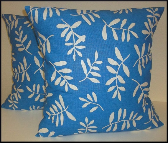 Set of 2 Pillow Covers 18x18-Free Shipping - Stencil Leaves on Blue Home Decor Fabric--