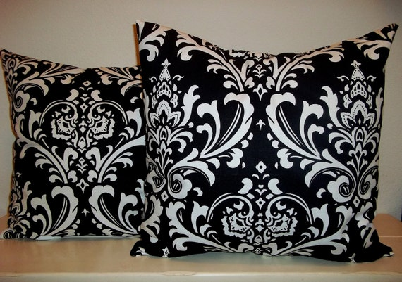 Set of 2 Pillow Covers 16x16-Free Shipping - Ozborne Damask Print Black with White