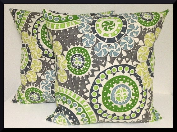 2 Pillow Covers 18x18 inch-Free Shipping - Richloom Kenzo Hemlock Cotton Decorator Fabric