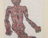 SALE Matt Leines / Paper Doll No. 0124/ Hand Colored / No Two Alike / Wacky Walker