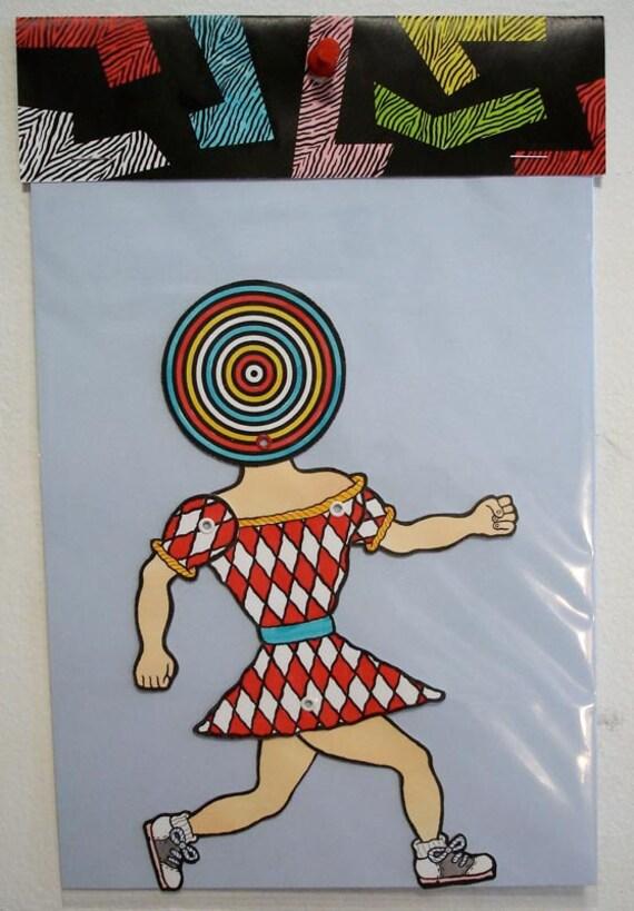 SALE / Matt Leines / Paper Doll No. 0043/ Hand Colored / No Two Alike /  Unique