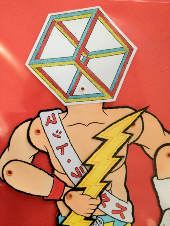 Matt Leines / Paper Doll No. 0097/ Hand Colored / No Two Alike / Lightning bolt
