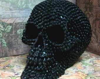 BLACK Pearl Beaded Rhinestone Shaped Skull Candle Beeswax
