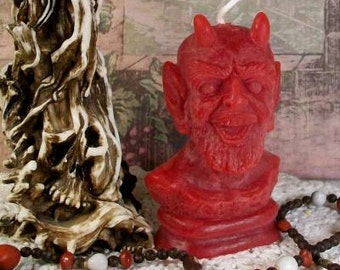 Devil Candle Blood Red Beeswax Candle