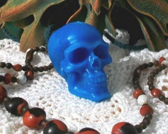 2 Hot Blue Beeswax Skull Candles Día de los Muertos Bright Blue Skull