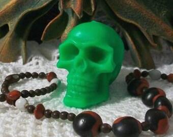 2 Hot Green Beeswax Skull Candles Día de los Muertos Bright Green Skull