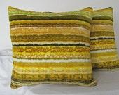 Green Gold Throw Pillows (2) Upcylced  So Groovy