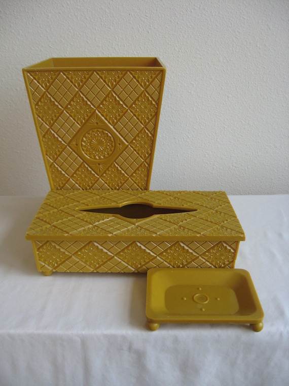 Mustard Yellow Bathroom Accessory Set By AtomicCityWhimsy