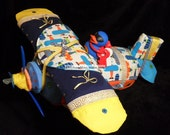 CUSTOM LISTING  Airplane Diaper Cake - Diaper Airplane -Deluxe Model with Handmade Baby Gift Set
