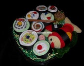Deluxe Diaper Sushi Set - with Handmade Baby Gift Set