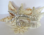 CUSTOM ORDER FOR T. B. Beach Wedding Hair Accessory Bling Starfish Hair Accessory Starfish Beach Bride