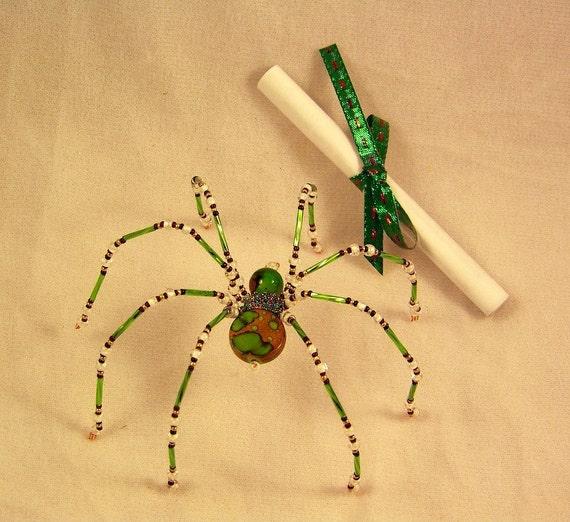 christmas spider green beaded german tree ornament. Black Bedroom Furniture Sets. Home Design Ideas