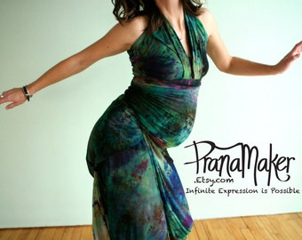 One-of-a-Kind Custom PranaMaker Maternity Wrap Art Dress with belt/scarf. Great Barrier Reef. Handpainted by Natalia Hacerola.