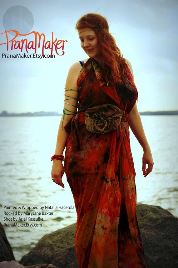 Wrap Dress: Tie All Styles Shown. Beach. Maternity. Yoga. PranaMaker Aphrodite's Aphrodisiac Dress. Handpainted by Natalia Hacerola