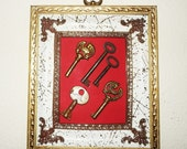 Skeleton Keys Framed in Vintage Shadow Box