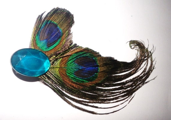 Peacock Hair Clip, Wedding Accessory,  Cruelty Free Feathers