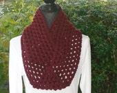 Infinity Eternity Cowl Neck Warmer Scarf Burgundy Cluster Crochet
