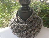 Necklace Skinny Infinity Eternity Cowl Scarf Landscape Light Blue Tan Brown Cluster Crochet