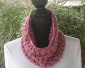 Funnel Infinity Eternity Cowl Neck Warmer Scarf Rose Mist Pink Cluster Crochet