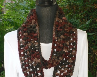 Infinity Eternity Cowl Neck Warmer Scarf Earth Ombre Brown Multi Colored