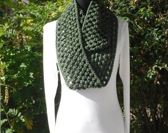 Puff Infinity Eternity Cowl Neck Warmer Circle Scarf Soft Deep Forest Green