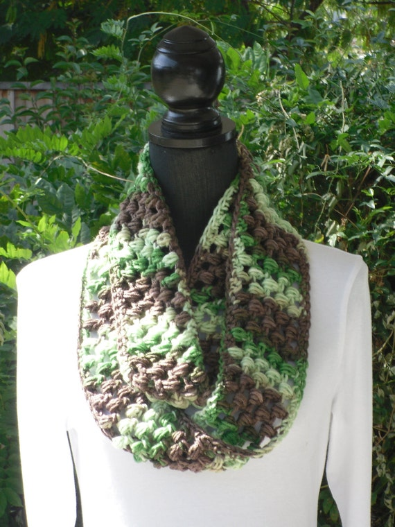 Infinity Eternity Cowl Neck Warmer Scarf Hiking Green Brown