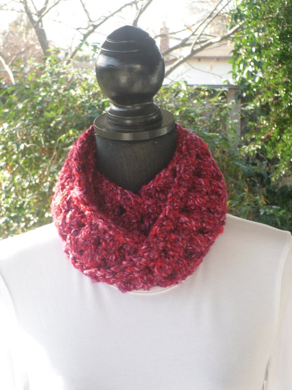 Necklace Skinny Infinity Eternity Cowl Scarf Kiss Me Red Pink