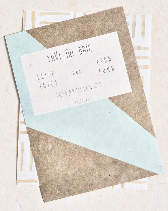Vintage Wedding Save The Date Cards with Bold Geometric Pattern