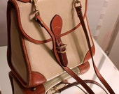 Reserved for GratedNutmeg//Vintage Dooney Bourke Cream / Tan Leather Crossbody Bag with Top Handle