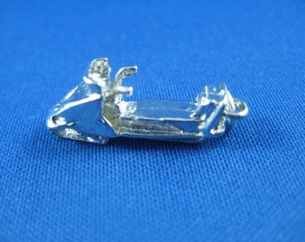 Snowmobile Charm  Sled Charm- Sterling Silver Vintage Charm