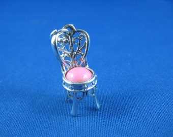 Pink Princess Chair - Silver Charm - Chair Pendant from Avon- for charm bracelet