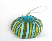 READY TO SHIP - Pin Cushion Hand Sewn - Turquoise, Green Stripes, Beaded Flowers - Pincushion Stocking Stuffer Coworker Gift