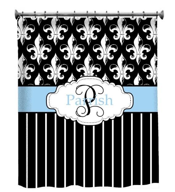 Custom shower curtain personalized fleur de lis - Fleur de lis shower curtain hooks ...