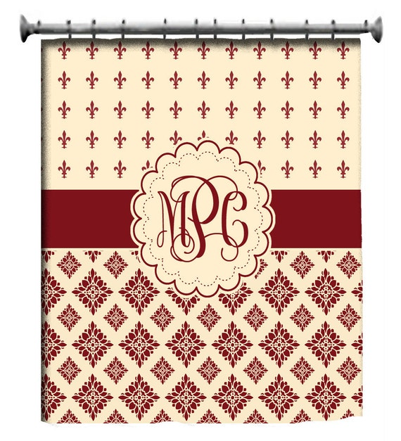 Items Similar To Custom Shower Curtain Personalized Fleur De Lis With Monogram On Etsy