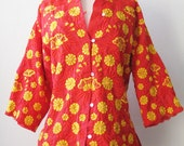 Vintage 1970's Embroidered Chinese Jacket Red and Gold