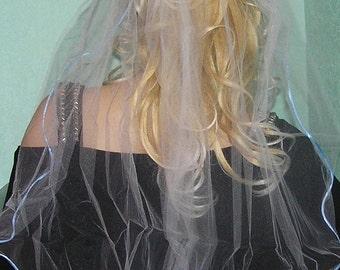 ELBOW LENGTH  WEDDING veil white with blue ribbon