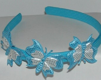 BLUE BUTTERFLIES  headband