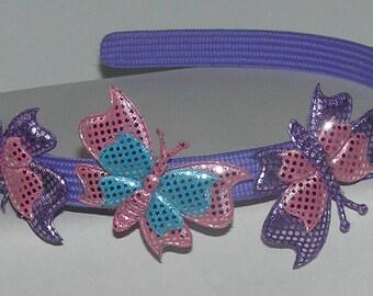 PURPLE  BUTTERFLIES  headband