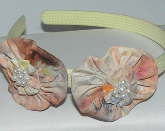 HAND MADE FLOWERS hand painted beaded fabric roses  headband