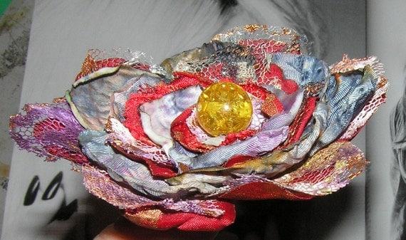 Handmade fabric flower rose BALTIC AMBER pin brooch jewelry