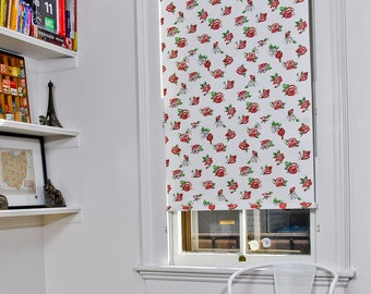 "Washed Rose Pattern Window Shade 32.25''- 35"" width"