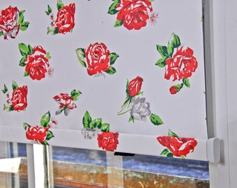 "Washed Rose Pattern Window Shade 44.25''- 47"" width"