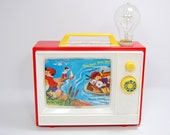 Nursery Lamp With Exposed Edison Bulb Lamp Upcycled Vintage Music Box TV Toy