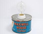 Vintage Coffee Can Lamp Blue Maxwell House Edison Bulb