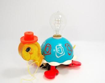 Nursery Lamp Vintage Turtle Pull Toy Edison Bulb Lamp