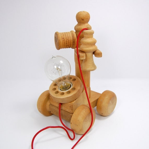 Wood Bedside Table Lamp With Edison Bulb Lamp, Upcycled Toy Phone